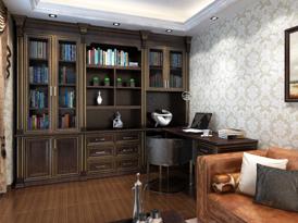史丹利定制系列-经典美式风格书柜效果图