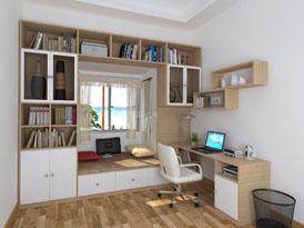 顶固定制系列-片床书柜榻榻米组合效果图