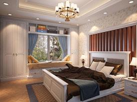 顶固定制系列-卧室飘窗组合衣柜效果图