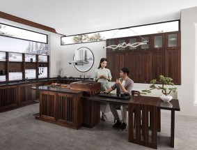 柏厨定制系列-新中式厨房效果图