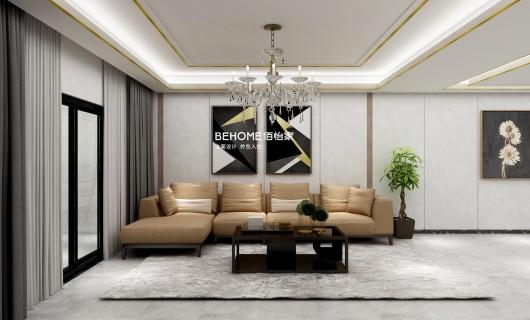 佰怡家设计案例:深棕+浅白 100㎡的轻奢风这样装更显质感